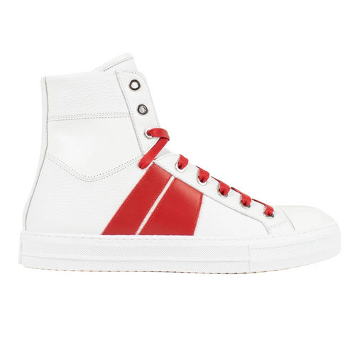 Men's Amiri Sunset Leather High Top Sneakers - White / Red