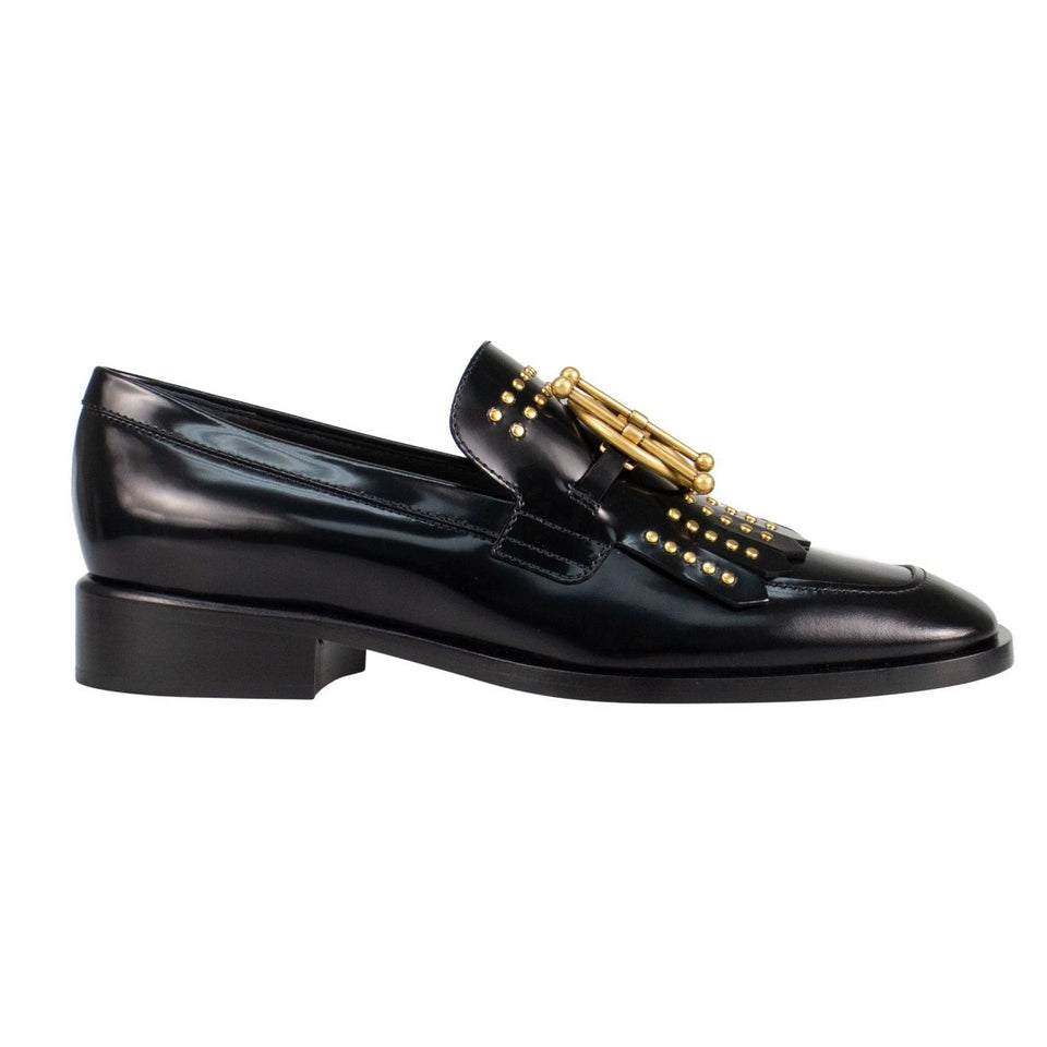 Diordirection Studded Calfskin Loafers - Black