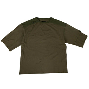 Cotton Three Quarter Sleeves T-Shirt - Olive Green