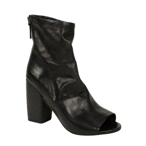 Open Toe Leather Ankle Boots - Black