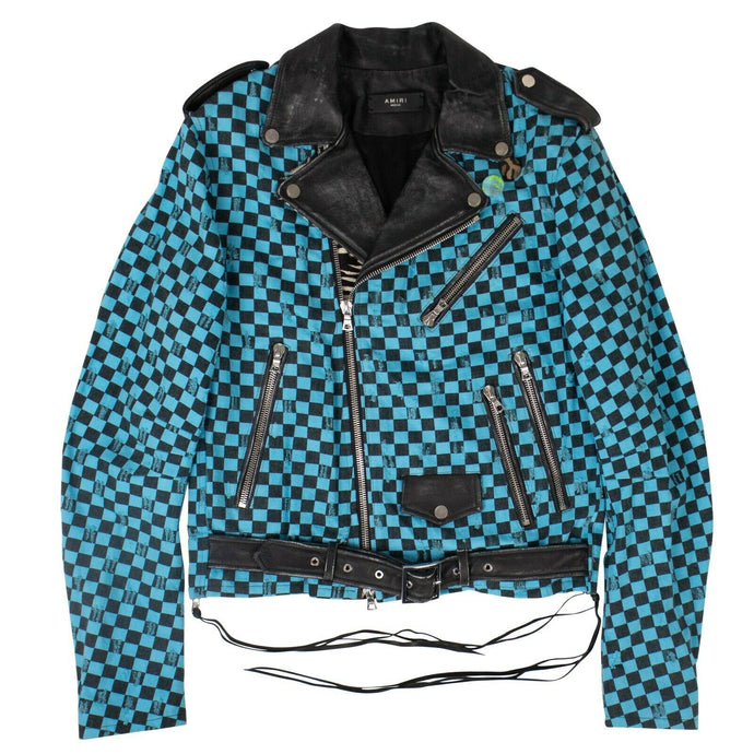 Denim Artist Checkered Biker Jacket - Aqua/Black