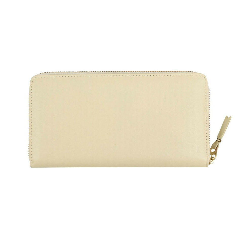 Leather Zip Around Wallet - Ivory