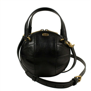 Leather Mini 'Tifosa' Convertible Strap Ball Shoulder Bag - Black