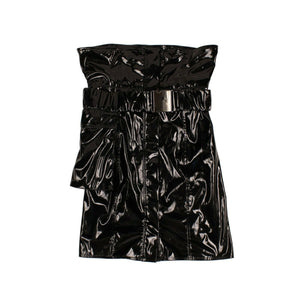High-Waisted Vinyl Mini Skirt - Black