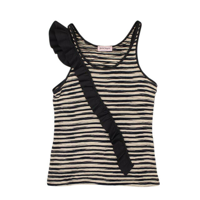Striped Cotton Frill Tank Top - Black And White