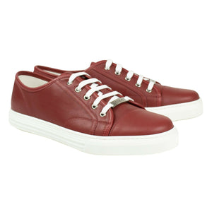 Leather Lace Up Sneakers - Red