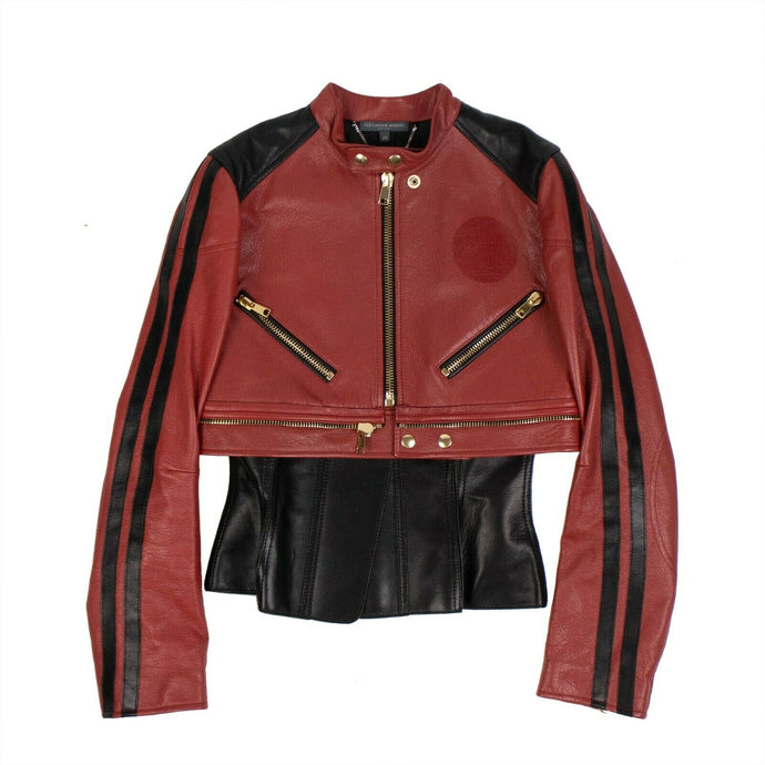 Peplum Biker Jacket - Red And Black