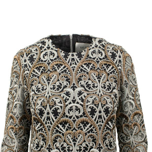 Embroidered Long Sleeve Dress - Gold / Silver