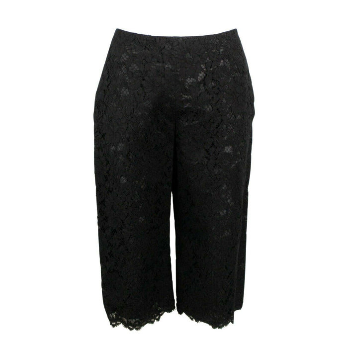Lace Cotton Blend Cropped Pants - Black