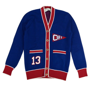 Wool Knit 'Flag' Cardigan - Blue