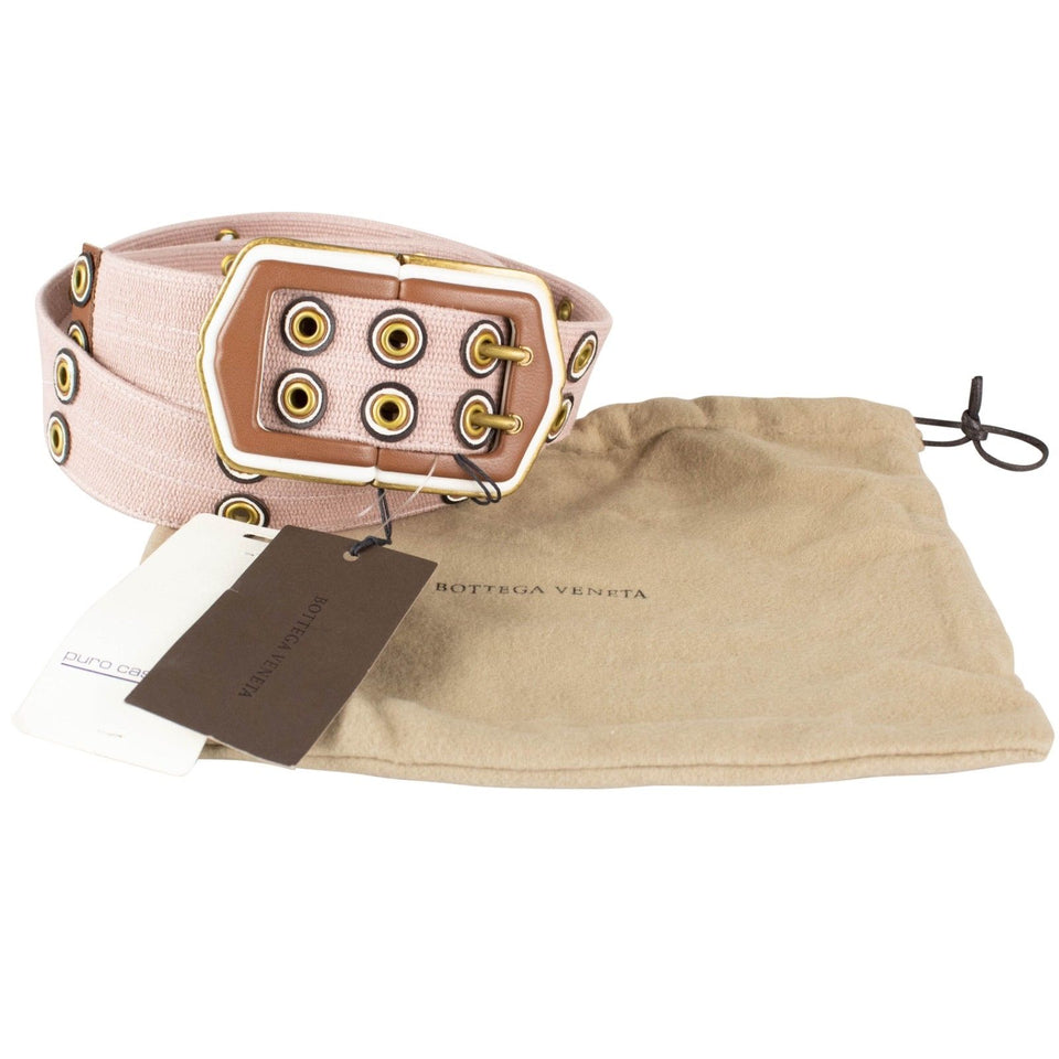 Cashmere Belt With Leather Buckle - Blush Pink