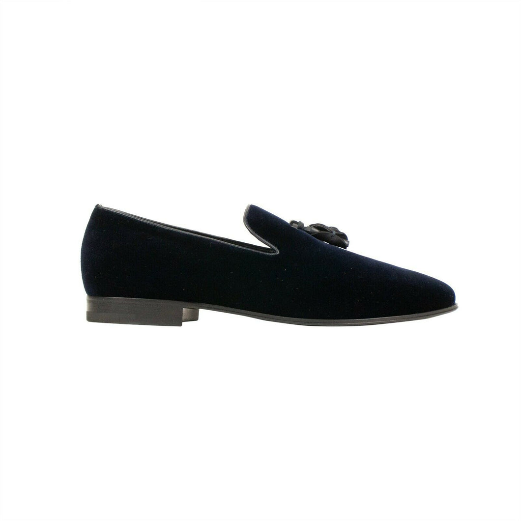 'Pietro' Velvet Loafers - Navy