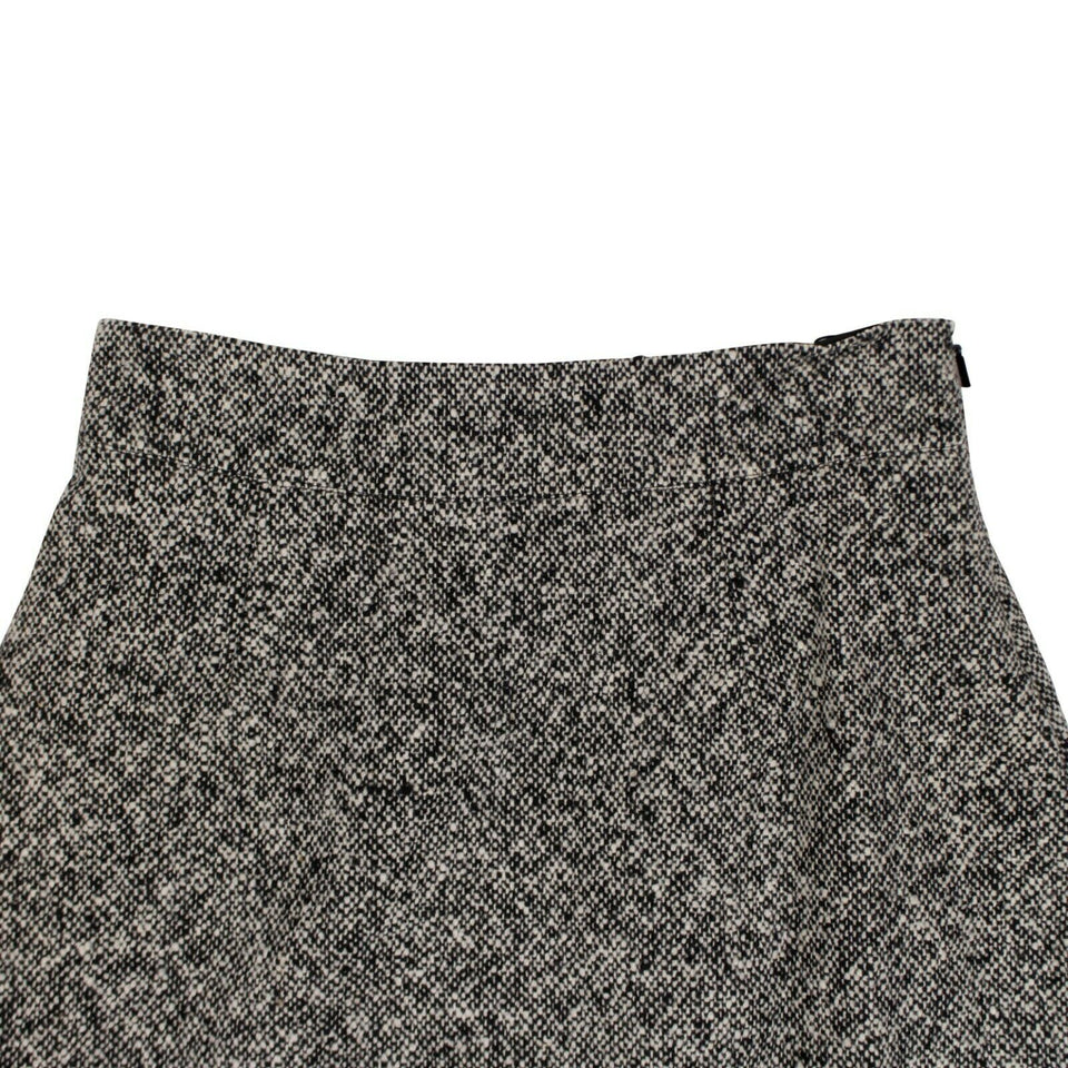 Wool A-Line Mid-Length Skirt - Black And White