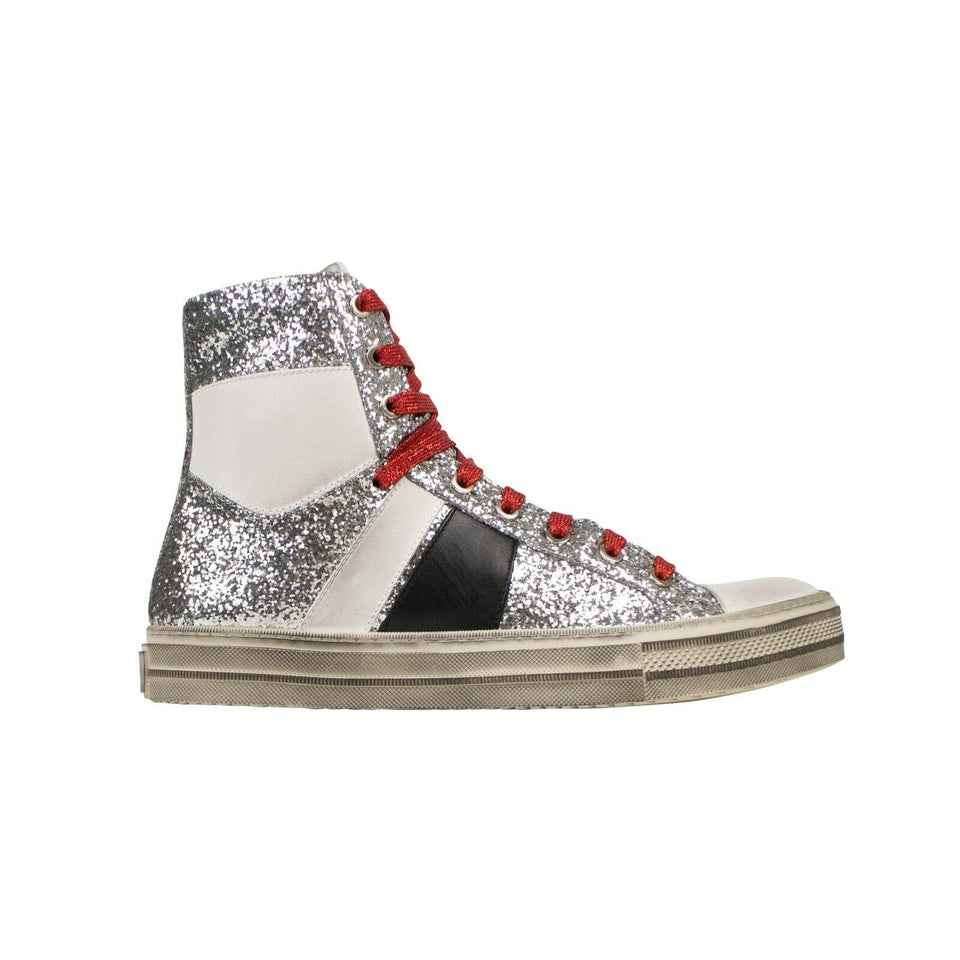 Glitter White/Black 'Sunset' Sneakers - Silver