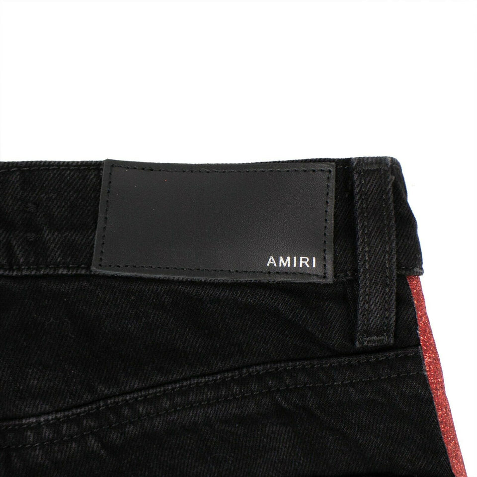 Denim Red Side Stripes Straight Track Jeans - Black