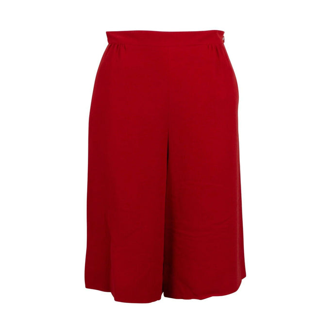 Silk Wide Leg Shorts - Red