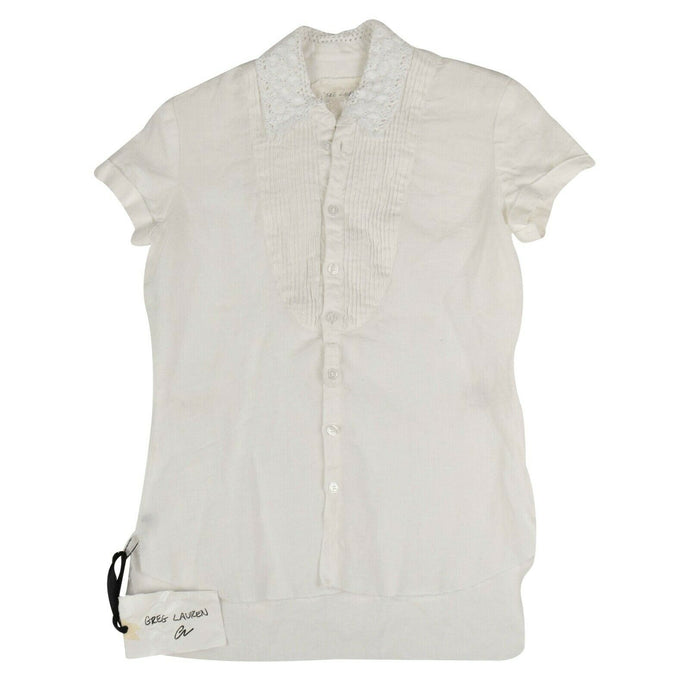 Linen Short Sleeve Tux Studio Shirt - White