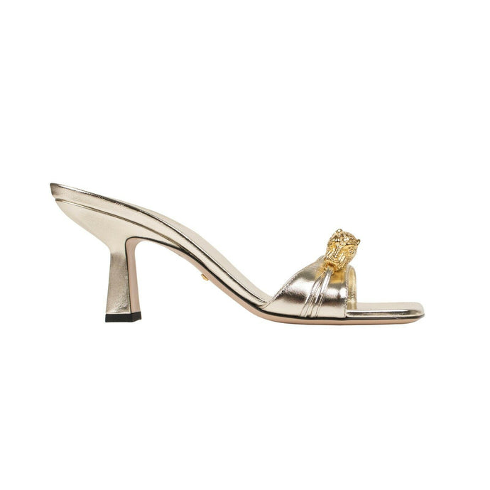 Metallic Leather Tiger Head Slides Heels - Gold