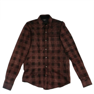 Genuine Leather Plaid Button Down Shirt - Burgundy / Black
