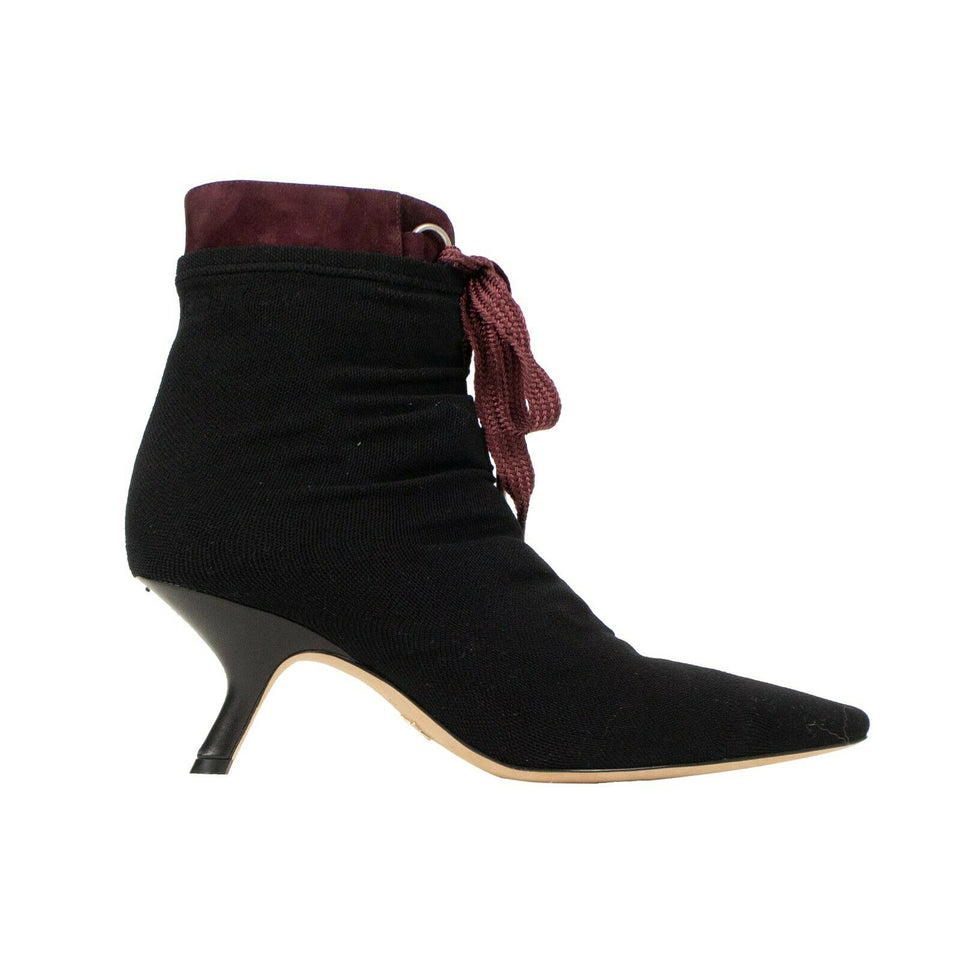 D-Hide Stretch Mesh Ankle Boots - Black