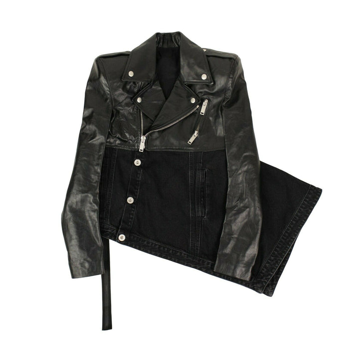 Asymmetric Denim & Leather Biker Jacket - Black