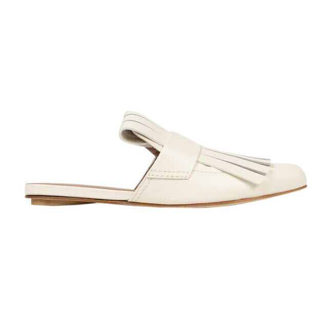 Calfskin Leather Fringe Flats Mules - White