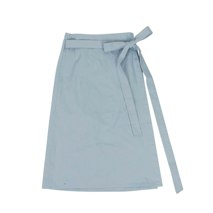 High-Waist Wrap Midi Skirt - Light Blue