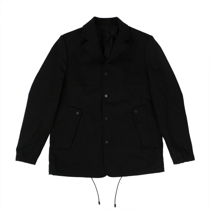 Cotton Virgin Wool Coach Jacket - Black