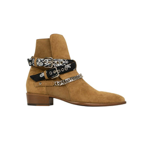 Suede Bandana Strap Buckle Ankle Boot - Tan