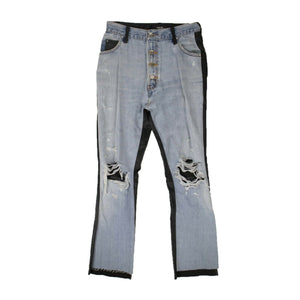 Denim Black Leather Pants - Indigo