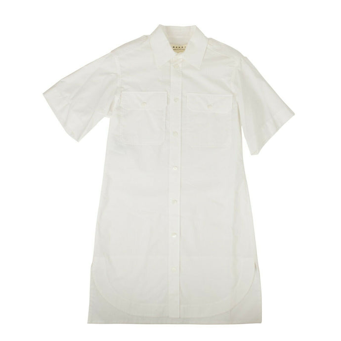 'Lily White Crispy Cotton' Button Down Shirt Dress - White