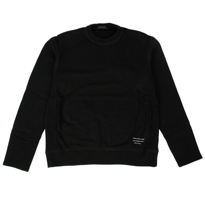 Cotton Long Sleeve Crew Neck Sweater - Black