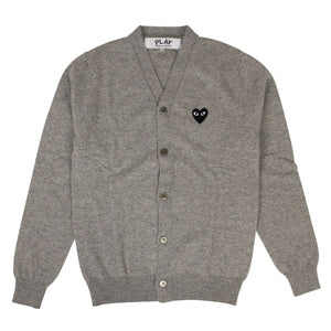 Wool Black Heart Cardigan Sweater - Gray