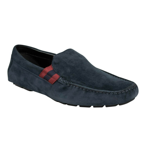 Suede Web Detail Driver Loafers - Navy