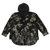 Hooded Python Print Denim Overshirt Top - Black