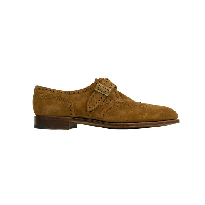Suede Single Monk Strap Dress Shoes - Brown