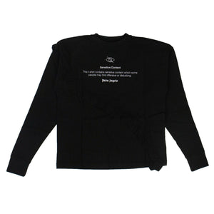 'Sensitive Content' Ruffle Long Sleeve T-Shirt - Black