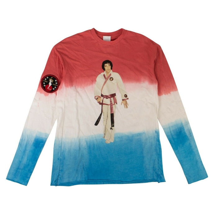 Karate Elvis Long Sleeve T-Shirt - White/Red/Blue