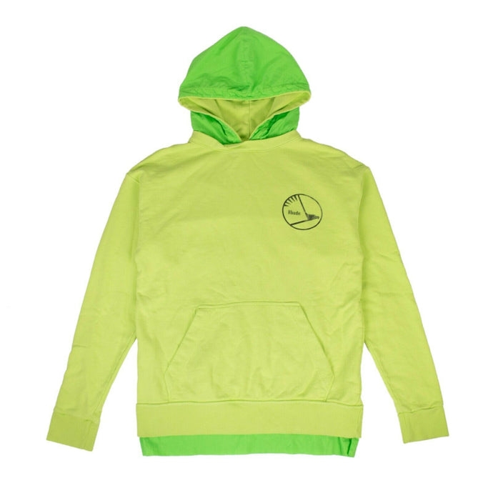 Cotton Layered Hoodie Sweatshirt - Lime Green