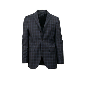 Drop 6 Plaid 3 Roll 2 Button Wool Sport Coat - Gray / Blue