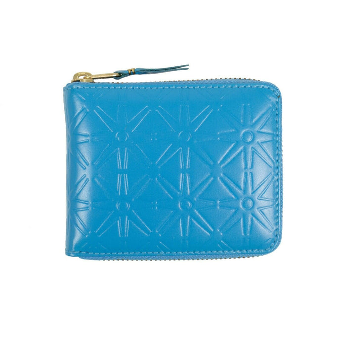 Leather Star Embossed Small Wallet - Blue