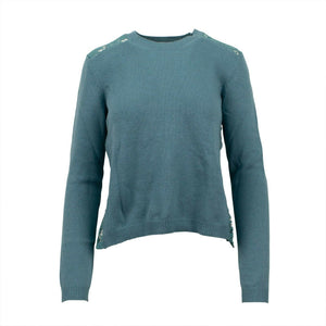 Long Sleeve Cashmere Sweater Top - Teal