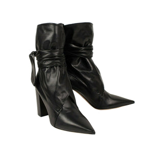 Huggy Lambskin Leather Ankle Boots - Black