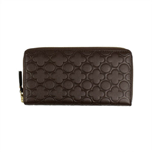 Leather Clover Embossed Wallet - Brown