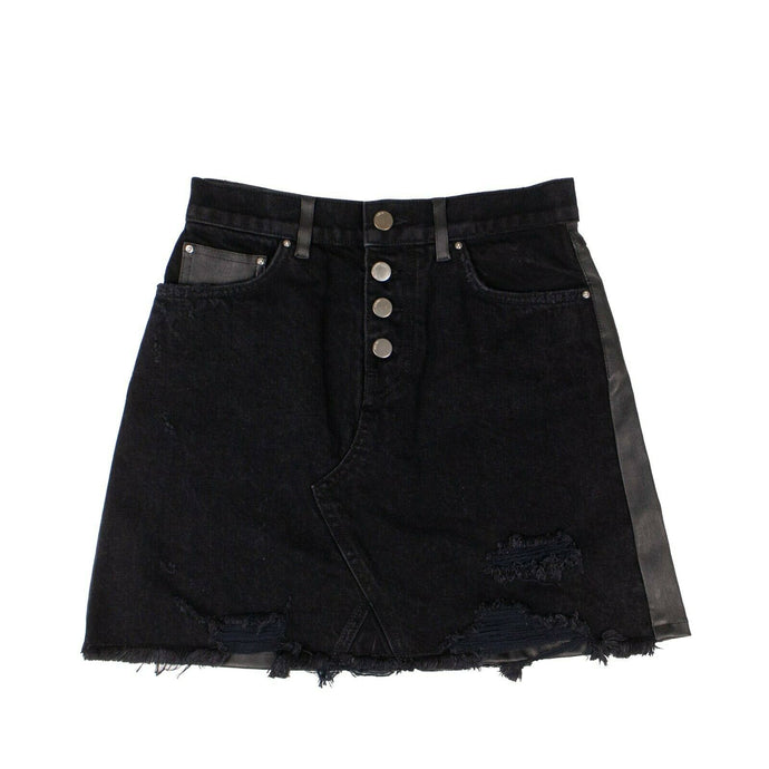Denim And Leather Fringe Mini Skirt -Black
