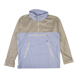 Cotton Stripe Long Sleeves Hooded Shirt - Gray/Blue