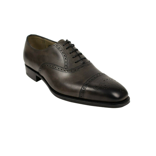 Leather Cap Toe Lace Up Oxfords - Antique Gray