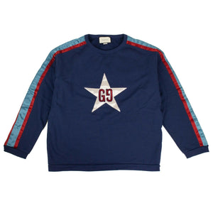 Cotton GG Star Design Crew-Neck Sweatshirt - Blue
