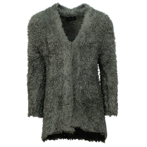 Fuzzy Silk Blend Long Cardigan Sweater - Olive Green