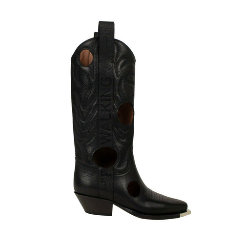 'Meteor Shower' Cowboy Boots - Black
